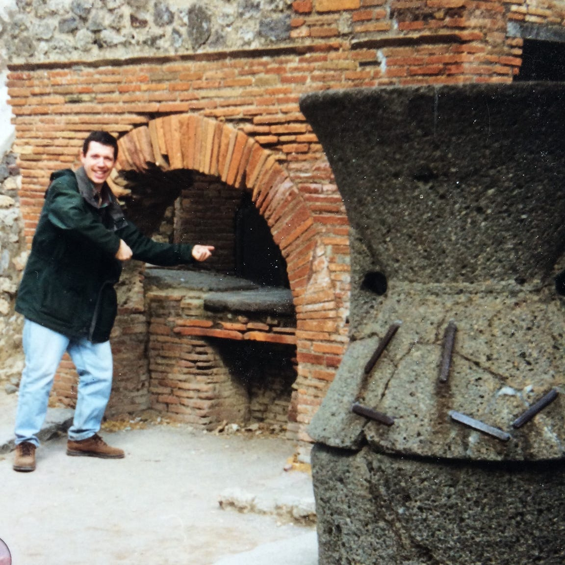 Anthony Mangieri at ancient oven in Pompeii, Italy.