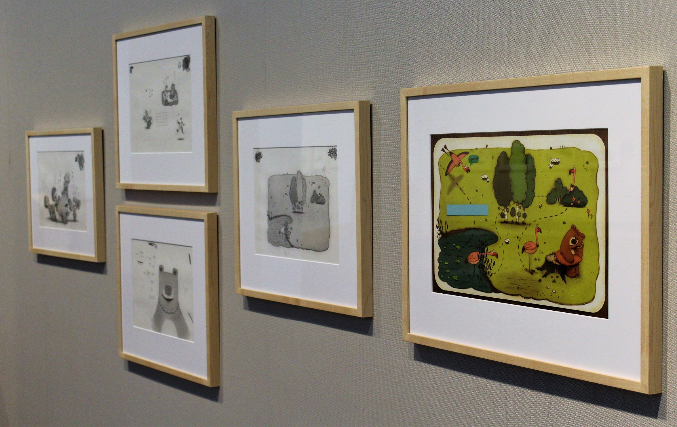 The gallery at the National Center for Children's Illustrated Literature comes alive with the work of Peter Brown.