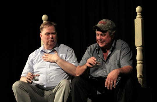 """Ray-Bud (Rodger Brown, right) listens to Junior (Tony Redman) talk about his affair in this rehearsal scene from """"Dearly Departed,"""" which winds up a two-weekend run at Abilene Community Theatre."""
