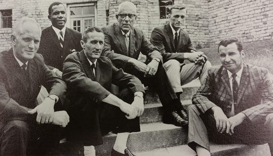 Asheville High School coaches, 1969-70 (l to r: John Gilbreath; Gene Hammonds; Hugh Hamilton; A.R. Isbill; Tom Wilson; Bill Bennett)—from yearbook