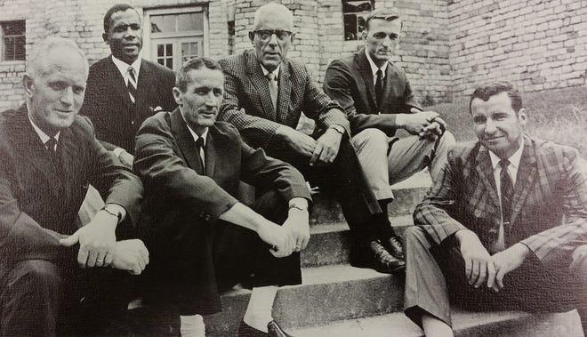 Asheville High School coaches, 1969-70 (l to r: John Gilbreath; Gene Hammonds; Hugh Hamilton; A.R. Isbill; Tom Wilson; Bill Bennett)—from yearbook
