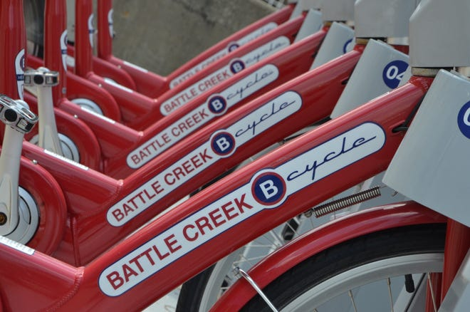 A rack of Battle Creek B cycles, which are available for rent at four locations throughout town.