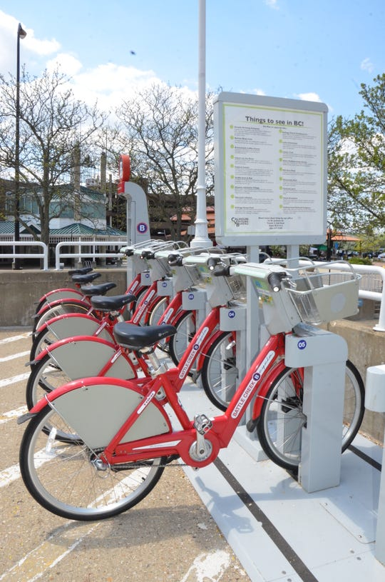 A kiosk for B Cycle, a bicycle rental station near the McCamly Plaza.