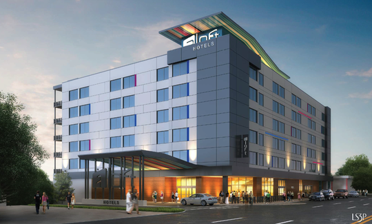 This artist's rendering depicts the Aloft Hotel proposed for the old SunTrust Bank site on New Haven Avenue in downtown Melbourne.