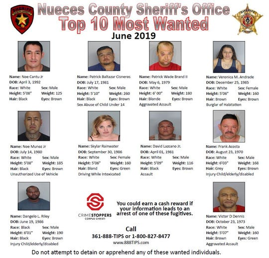 Anyone with information about the Nueces County Sheriff's Office Top 10 most wanted for June 2019 should call Crime Stoppers at 361-888-8477 or 1-800-827-8477.