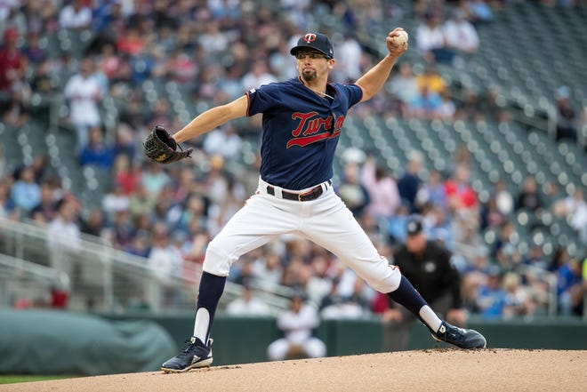 May 28, 2019; Minneapolis, MN, USA; Minnesota Twins starting pitcher Devin Smeltzer (31) delivers a pitch during the first inning against the Milwaukee Brewers at Target Field. Mandatory Credit: Jordan Johnson-USA TODAY Sports