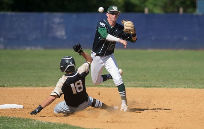 West Deptford's Colby Garrison forces out Point Pleasant Boro's Nicholas Zbikowski at second base during a double play in the Group 2 state baseball semifinals played at Toms River North High School on Monday, June 3, 2019.   Point Pleasant defeated West Deptford, 8-4.