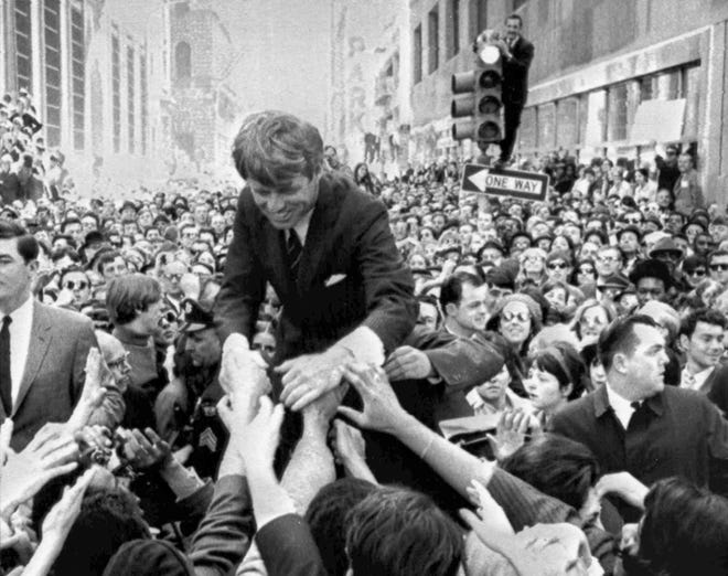 U.S. Sen. Robert F. Kennedy campaigns in Philadelphia in 1968 for the Democratic presidential nomination.
