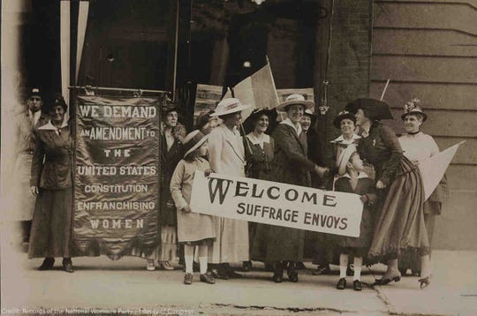 Women's suffrage supporters demanding a constitutional amendment for women to vote.