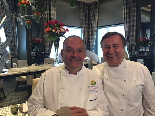 Jean-Robert de Cavel, left, and old friend Daniel Boulud, at REstaurant L in Cincinnati  June 3, 2019
