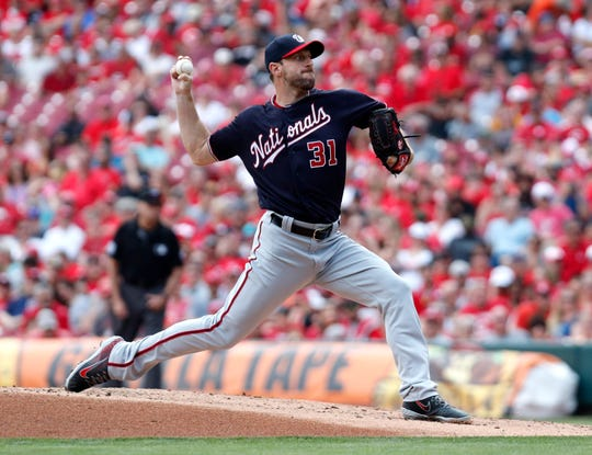 Jun 2, 2019; Cincinnati, OH, USA; Washington Nationals starting pitcher Max Scherzer (31) throws the ball against the Cincinnati Reds during the first inning at Great American Ball Park. Mandatory Credit: David Kohl-USA TODAY Sports
