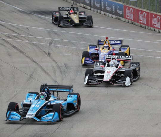 Racers head into Turn 2 during the Detroit Grand Prix on Sunday, June 2, 2019, on Belle Isle.