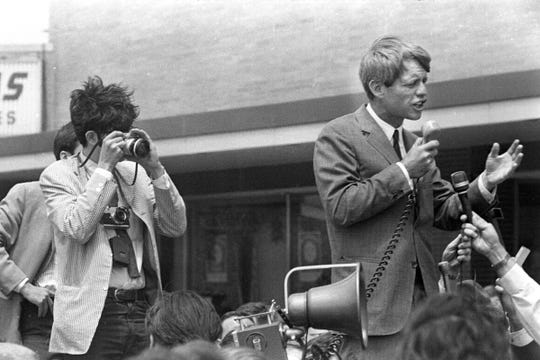 Michigan Daily photographer Andy Sacks on the campaign trail of Robert Kennedy,  May 1968.