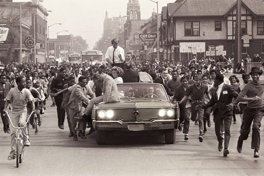 Robert F. Kennedy campaigns in Detroit, May 1968.