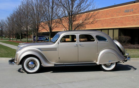 "The design of the 1935 Chrysler Airflow, part of the ""Game Changers"" display at Cars 'R' Stars, was ahead of its time."