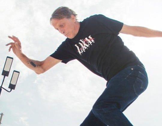 Tony Hawk skateboarding in Detroit