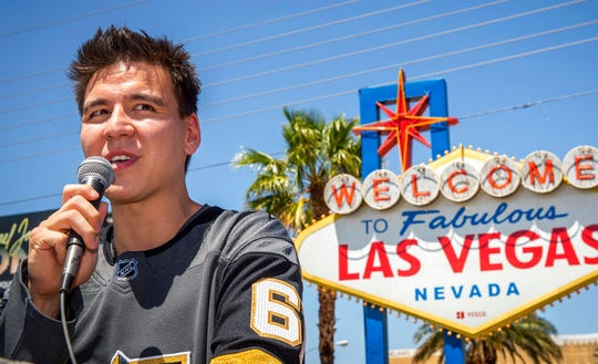 "In this May 2, 2019, file photo, ""Jeopardy!"" sensation James Holzhauer speaks after being presented with a key to the Las Vegas Strip in front of the Welcome to Fabulous Las Vegas sign in Las Vegas."