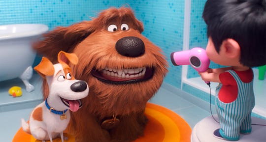 "Max, voiced by Patton Oswalt, from left, Duke, voiced by Eric Stonestreet and Liam, voiced by Henry Lynch in a scene from ""The Secret Life of Pets 2."""