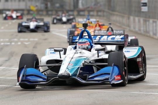 Takuma Sato enters a turn during Race 2 Sunday on Belle Isle.
