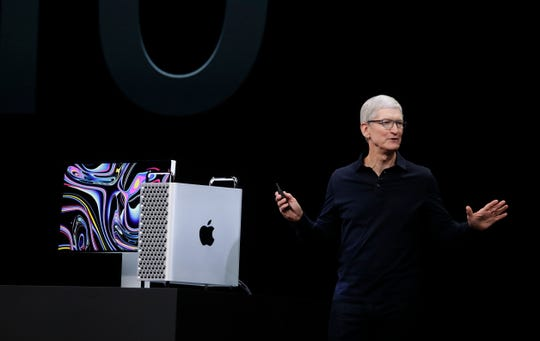 Apple CEO Tim Cook speaks about the MacBook Pro at the Apple Worldwide Developers Conference in San Jose, Calif., Monday, June 3, 2019.