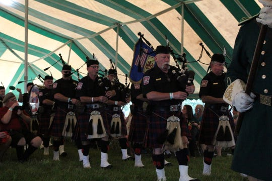 Metro Detroit Police and Fire Pipes & Drums Band perform at a past Motor City Irish Festival.