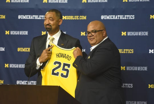 Warde Manuel introduces Juwan Howard as Michigan's new basketball coach.