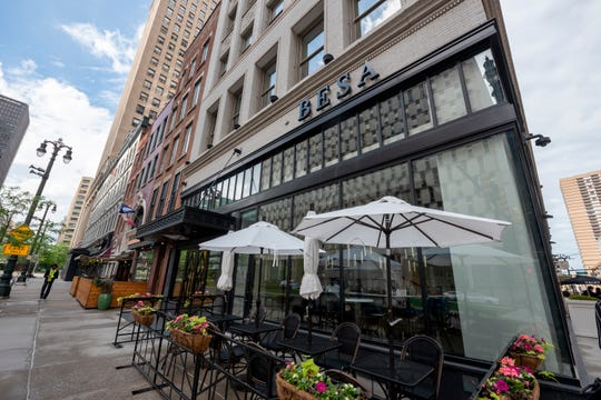 Besa restaurant debuted last fall on the ground floor of the Albert Kahn-designed Vinton Building at Woodward and Congress.