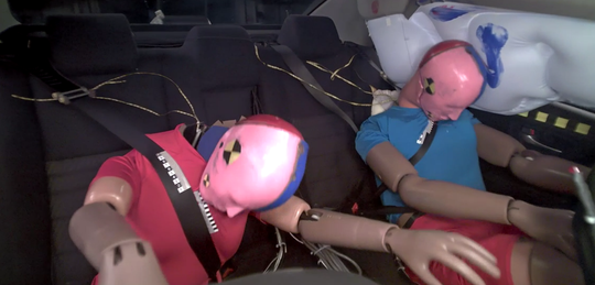A new IIHS study of frontal crashes in which belted rear-seat passengers were killed or seriously injured suggests that more sophisticated restraint systems are needed in the back.