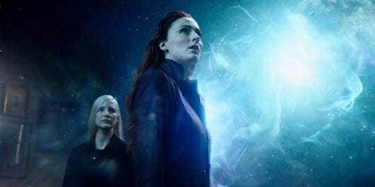 "Sophie Turner and Jessica Chastain, left, in a scene from ""Dark Phoenix."""