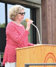 Corning Community College President Katherine Douglas addresses the crowd during a retirement ceremony Friday.
