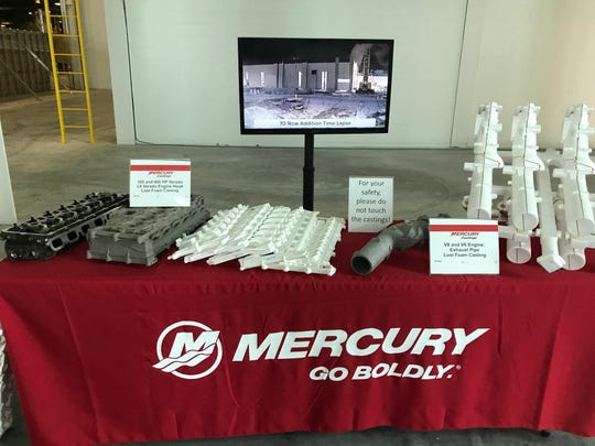 During the grand opening event, Mercury Marine had several examples of engine castings created by diecast machines on display.