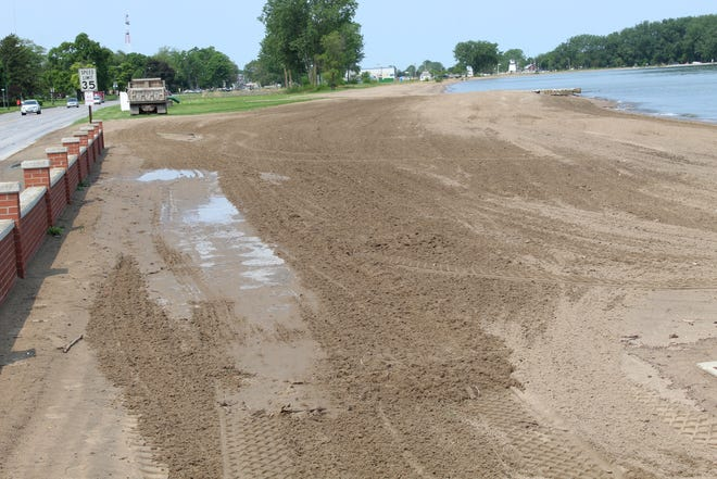 The City of Port Clinton has moved sand from its western beach area on West Lakeshore to part of its city beach, seen here, in an effort to shore up the beach area. The city's beach areas have been hit hard by high Lake Erie water levels and severe shoreline erosion this year.