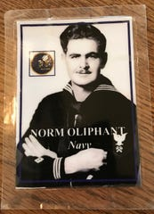 Norm Oliphant as an 18-year-old Navy Seabee during World War II. He would go on to be involved in the invasions of Saipan, Tinian and Iwo Jima. He was wounded twice and awarded a Purple Heart.