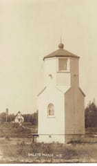 The Lower, front, and Upper Range Light in Baileys Harbor in an undated photo.