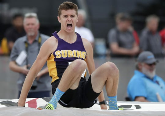 Suring's Mitch Stegman celebrates after winning the Division 3 pole vault during the WIAA state track and field meet Saturday, June 1, 2019 at Veterans Memorial Field Sports Complex in La Crosse, Wis.