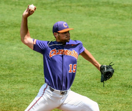 Clemson's Brooks Crawford pitches against Jacksonville State in an elimination game in the NCAA Oxford Regional at Oxford-University Stadium in Oxford, Miss. on Sunday.