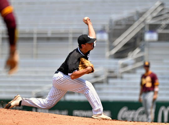 Southern Miss starting pitcher Stevie Powers throws against Arizona State in an NCAA college Baton Rouge Regional baseball game Sunday, June 2, 2019, in Baton Rouge, La. (Hilary Scheinuk/The Advocate via AP)