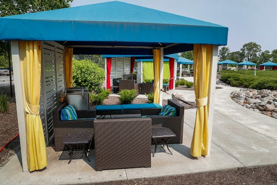 New this year are the cabanas that are available for rent at The Waterpark at the Monon Community Center.