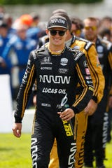 Marcus Ericsson arrives before the second race of the IndyCar Detroit Grand Prix auto racing doubleheader in Detroit, Sunday, June 2, 2019.
