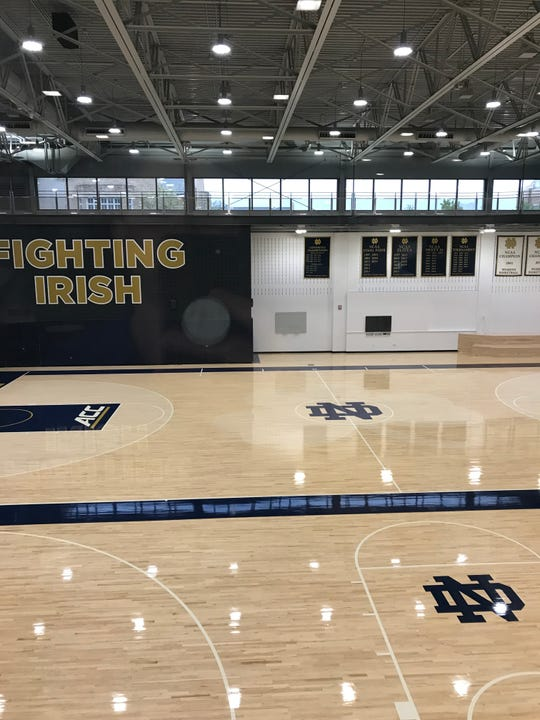 One of the main practice courts at Notre Dame's newly opened Rolfs Athletics Hall for men's and women's basketball
