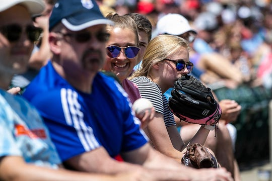 Fans watch the Indianapolis Indians play against the Gwinnett Stripers at Victory Field, Indianapolis, Sunday, June 2, 2019.