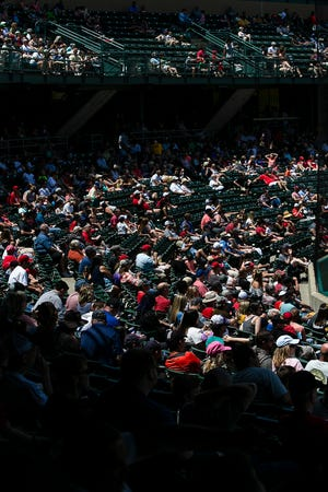 Fans watch the Indianapolis minor league baseball team play against the Gwinnett Stripers at Victory Field, Indianapolis, Sunday, June 2, 2019.