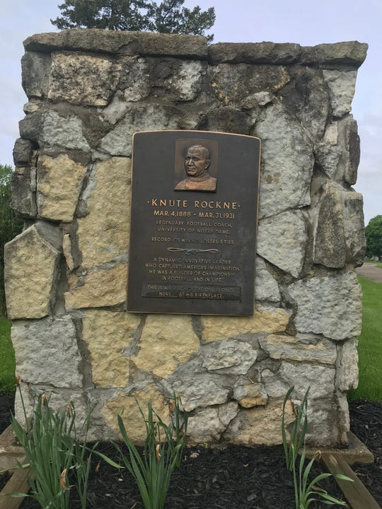 The monument dedicated to Knute Rockne in South Bend's Highland Cemetery.