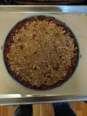 This recipe makes a rhubarb crisp that could almost be called a pie.