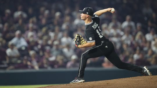 Mississippi State senior pitcher Peyton Plumlee pitched 5.0 innings in Mississippi State's win over Miami in the finale game of the Starkville Regional.