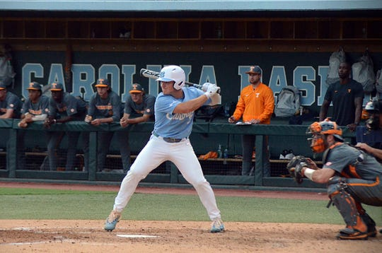 Dylan Harris of North Carolina waits for a pitch during a game against Tennessee in the Chapel Hill Regional of the NCAA Tournament on Sunday, June 2, 2019 in Chapel Hill, North Carolina. Harris is a graduate of Hardin Valley Academy.
