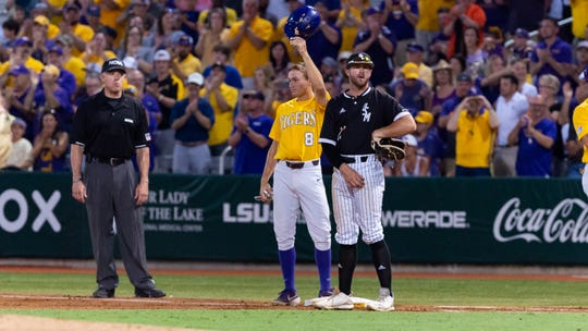 Antoine Duplantis hits a single to center field for his 353rd hit of the season to break Eddy Furniss for All-Time Hits Record at LSU as The LSU Tigers take on Southern Miss in the 2019 NCAA Regional Tournament in Baton Rouge, LA. Sunday, June 2, 2019.