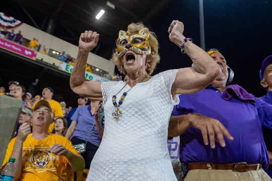 Lee Dalfrey reacts as tension rise in the top of the ninth as The LSU Tigers take on Southern Miss in the 2019 NCAA Regional Tournament in Baton Rouge, LA. Sunday, June 2, 2019.