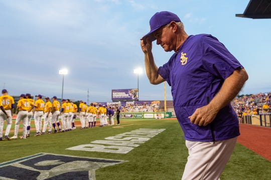 Paul Mainieri takes the field as The LSU Tigers take on Southern Miss in the 2019 NCAA Regional Tournament in Baton Rouge, LA. Sunday, June 2, 2019.