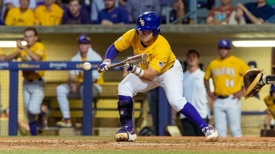 Chris Reid lays down a bunt as The LSU Tigers take on Southern Miss in the 2019 NCAA Regional Tournament in Baton Rouge, LA. Sunday, June 2, 2019.